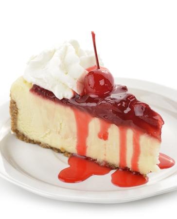 slice cake: Cheesecake Slice ciliegia e fragola Archivio Fotografico