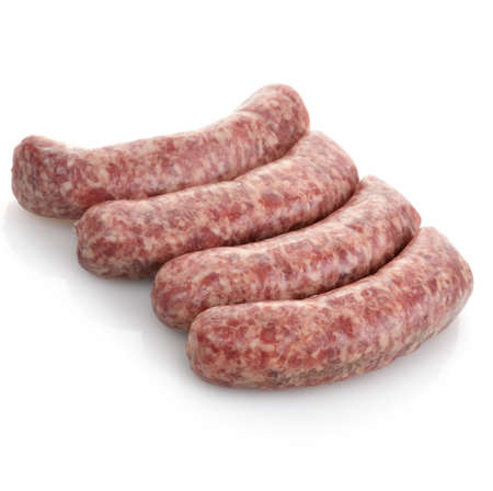 Fresh Raw Sausages On White Background