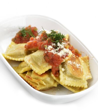 Ravioli Pasta With Tomato sauce And Cheese photo