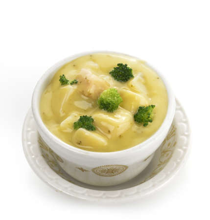 potato soup: Potato, Broccoli And Cheese Soup ,Close Up Stock Photo
