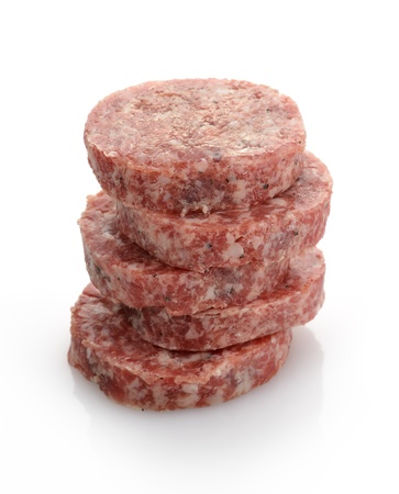 Stack Of Fresh Raw Beef Burgers