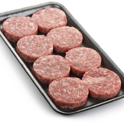Raw Beef Burgers In A Packaging Tray  Stock Photo