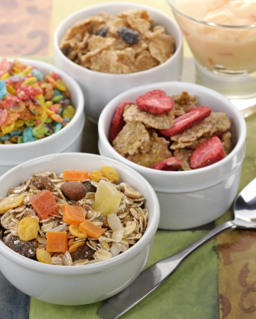 Breakfast Collection   Muesli And Flakes With Fruites And Nuts Imagens