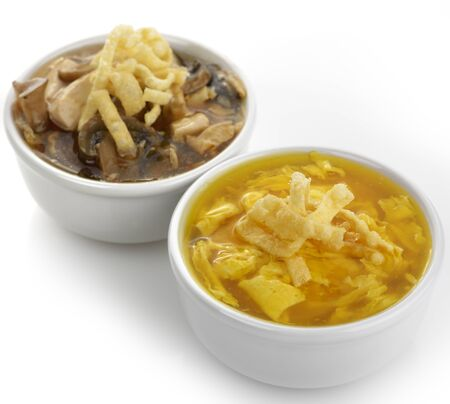 Egg Drop And Hot and Sour Bowls Of Soup
