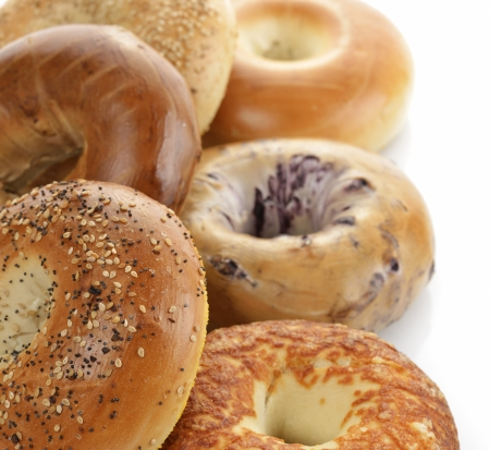 Assortment Of Bagels On White Background Archivio Fotografico