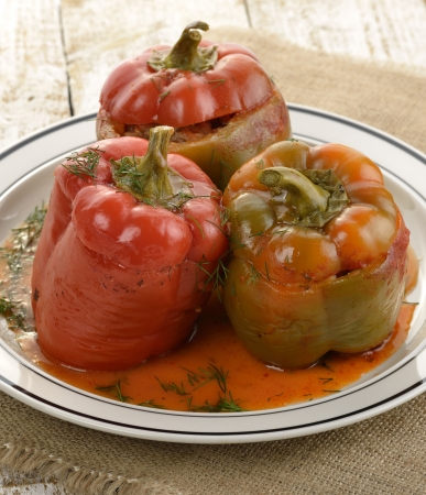 Stuffed Sweet Peppers On A Plate