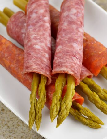 pickled: Salami With Marinated Asparagus Appetizer