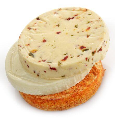 白い背景の上のチーズの品揃え 写真素材