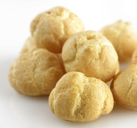 cream puff: Fresh Mini Cream Puffs ,Close Up Stock Photo