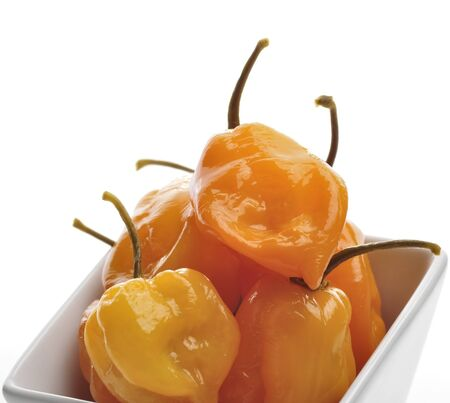 Spicy Yellow Peppers In A White Bowl
