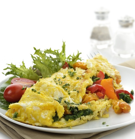 scrambled eggs: Omelet With Lettuce And Vegetables