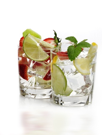 Glasses Of Fruit Drinks With Ice Cubes photo