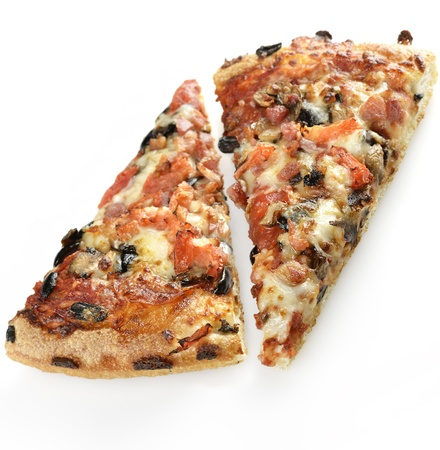 Pizza Slices With Mushrooms,Sweet Pepper,Black Olives And Sausages photo
