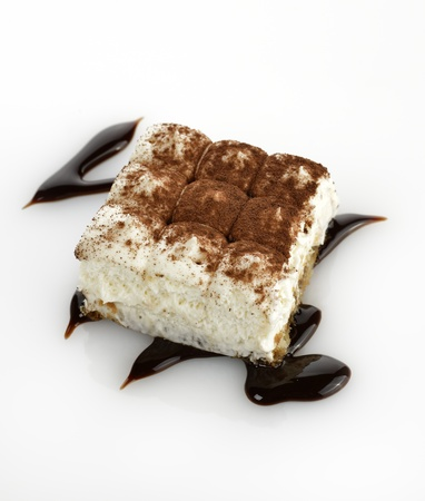 Tiramisu Cake On White Background
