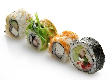 Sushi Assortment On White Background