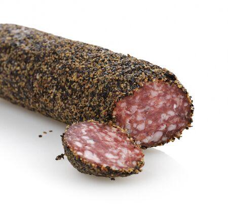 pepper salami: Black Pepper Hard Salami,Close Up