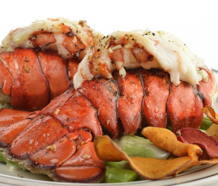 lobster: Grilled Lobster Tail  With Asparagus ,Close Up Stock Photo
