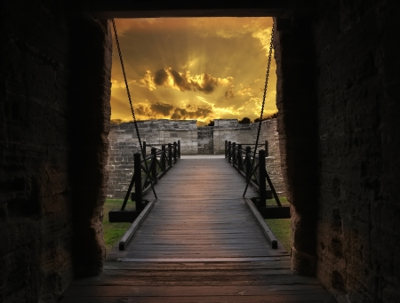 fl: Gate And Bridge Of Old Fort In St Augustine,FL