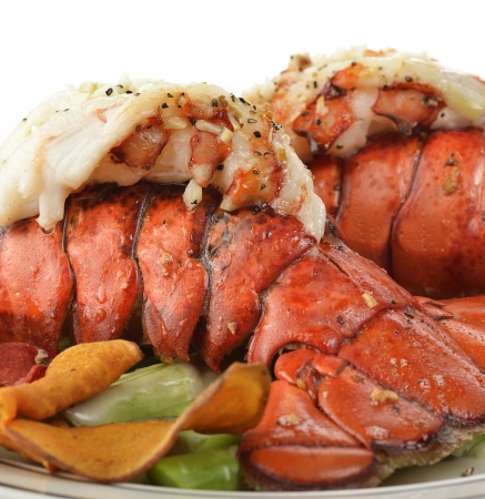 lobster tail: Grilled Lobster Tail  With Asparagus  Stock Photo