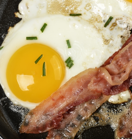 skillet: Fried Eggs And Bacon  In A Skillet