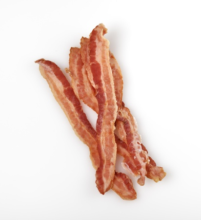 bacon fat: Strips Of Fried Bacon On White Background Stock Photo