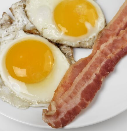 sunnyside: Fried Eggs And Bacon  ,Close Up