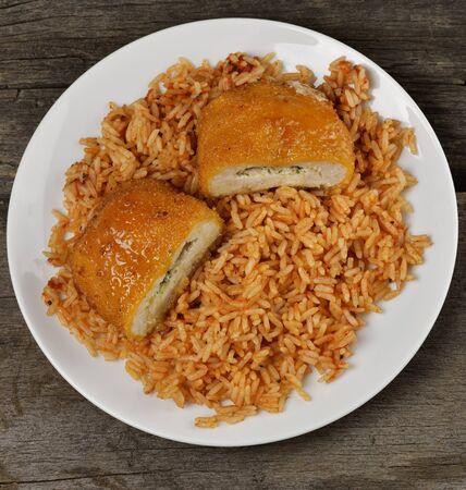 Filete de pollo rellena con arroz, vista superior Foto de archivo - 19329018