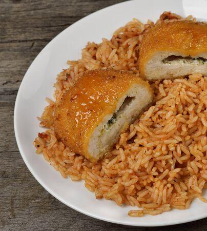 Filete de pollo relleno con arroz, primer plano, Foto de archivo - 19329013