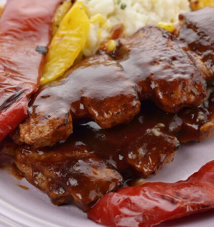 bbq ribs: Barbecue Pork Ribs With Grilled Sweet Pepper  Stock Photo