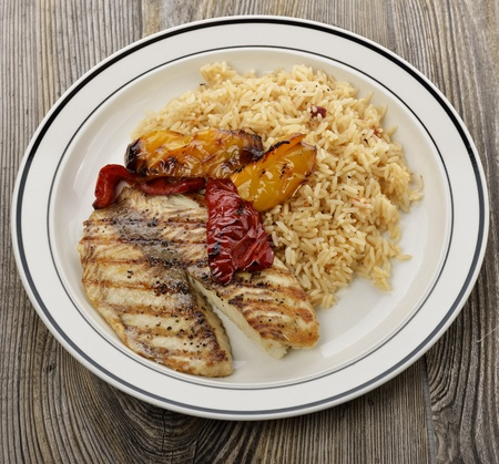 tilapia: Grilled Tilapia Fillet With Rice And Vegetables