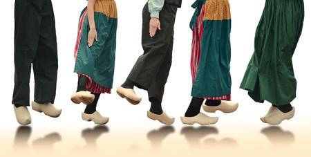 dutch: Dutch Dancers On White Background
