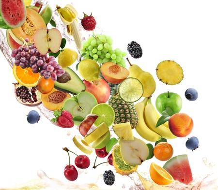 白い背景の上に新鮮な果物コレクション 写真素材
