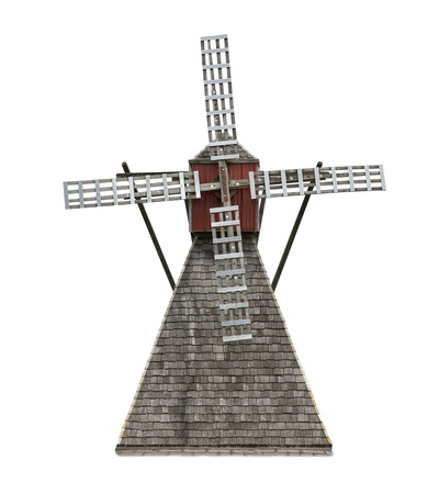 Old Wooden Windmill Isolated On White  Banco de Imagens
