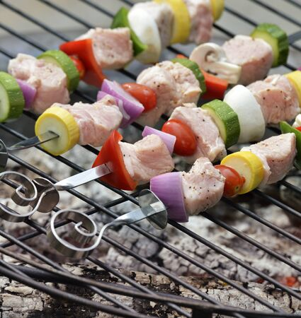 shishkabab: Ham Kababs Cooking On The Grill