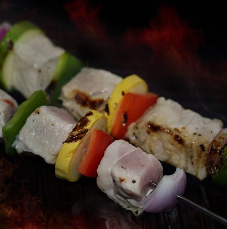 shishkabab: Pork With Vegetables On A Grill