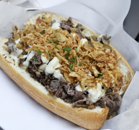 steak sandwich: Cheese Steak Sandwich With Beef ,Mushrooms And Onions Stock Photo