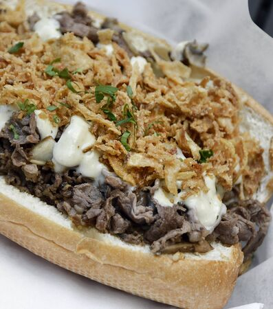 Cheese Steak Sandwich With Beef ,Mushrooms And Onions Stock Photo