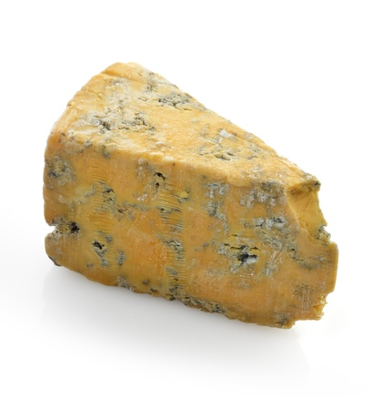 Wedge Of Blue Cheese On White Background Stock Photo