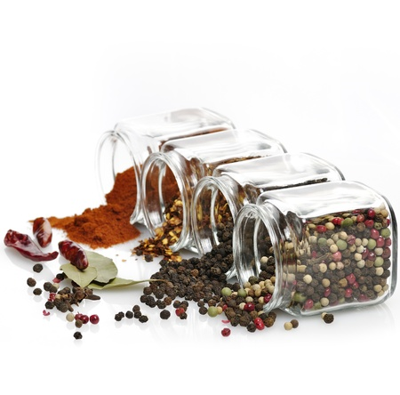 Assortment Of Spices In The Glass Jars  版權商用圖片