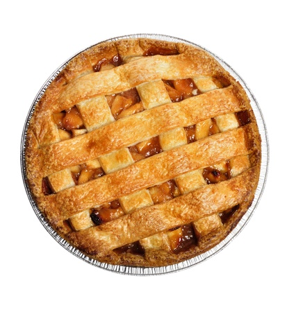 manzana: Pastel de manzana aislado en blanco, vista superior
