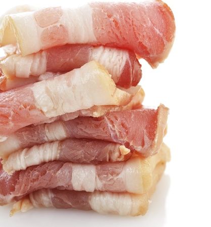 bacon fat: Stack Of Smoked Sliced Bacon ,Close Up On White Background Stock Photo