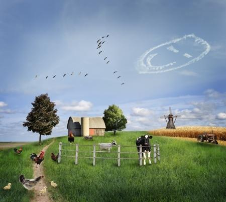 animales granja: Animales de granja en un campo verde Foto de archivo