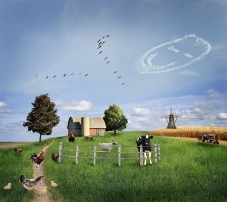 Farm Animals On A Green Field Banque d'images