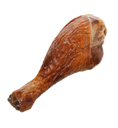 Turkey Smoked Leg Isolated On White