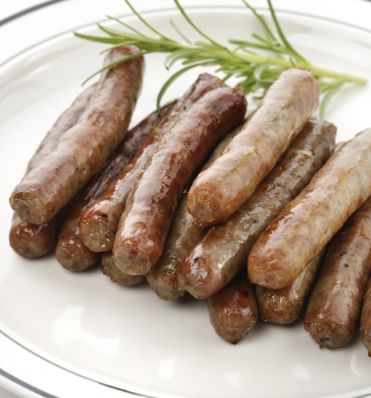 Fried Breakfast Sausage Links,Close Up Banco de Imagens