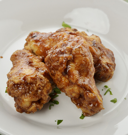 Chicken Wings With Barbecue Sauce,Close Up Stock Photo