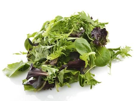 Fresh Salad Leaves Assortment On White Background