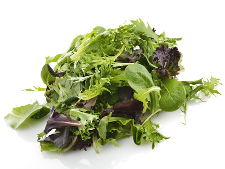 Fresh Salad Leaves Assortment On White Background