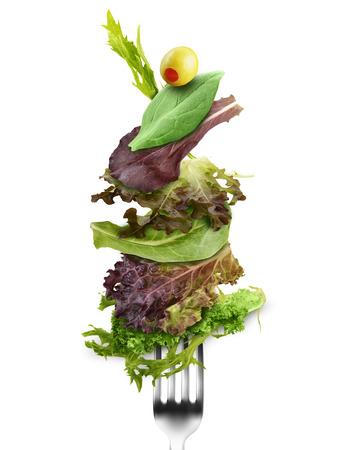 Fresh Salad Leaves Mix On A Fork Imagens