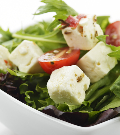 Spring Salad With Feta Cheese,Close Up
